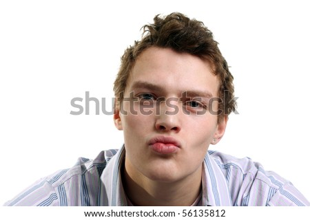 young handsome man kissing anybody - stock photo