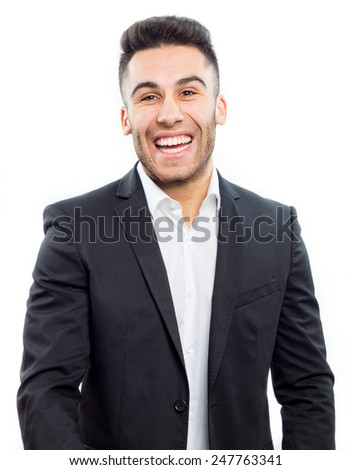 Young handsome man laughing