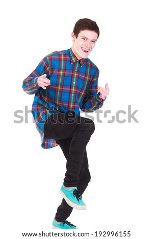 Young handsome man looking like rockstar on whitebackground