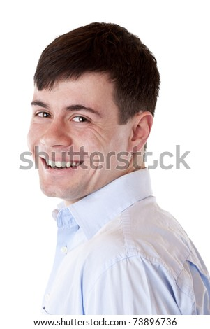 Young handsome man smiles happy at camera. Isolated on white background. - stock photo