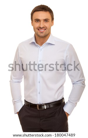 young handsome man smiling isolated over white background. Businessman. Man in shirt - stock photo