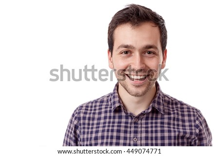 Young handsome man smiling on white background