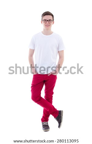 young handsome man standing isolated on white background - stock photo