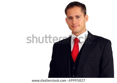 Young handsome man wearing a dark suit and west - stock photo