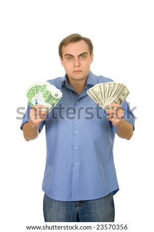 Young handsome man with money. Isolated on white. - stock photo