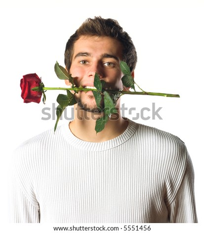 Young handsome man with rose. Isolated on white. - stock photo