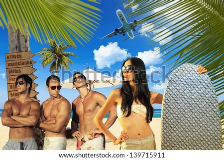 Young handsome men with asian woman holding a surf board - stock photo