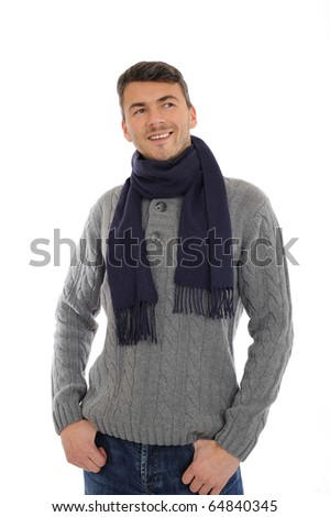 Young handsome possitive man in warm winter casual clothes thinking. isolated on white background - stock photo