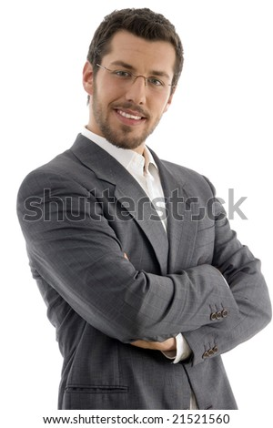 young handsome professional on an isolated white background - stock photo