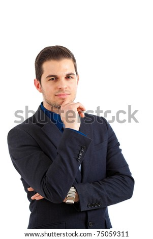 Young handsome serious businessman isolated on white - stock photo