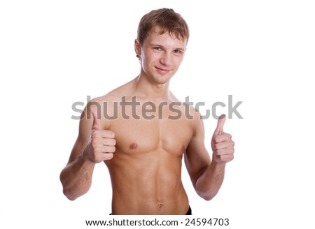 Young handsome sexy man showing ok sign