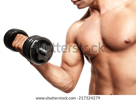 young handsome sexy man with dumbbells in hand shows biceps - stock photo