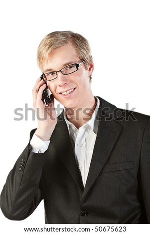 Young handsome smiling blond man speaking on the cellphone, isolated on white. - stock photo