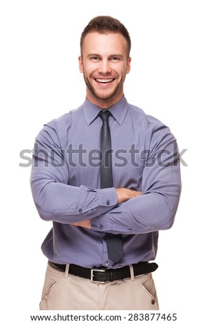 Young handsome smiling man isolated over white background - stock photo