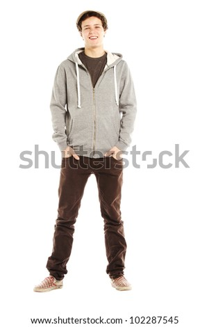 Young handsome smiling man with hip style against white background - stock photo