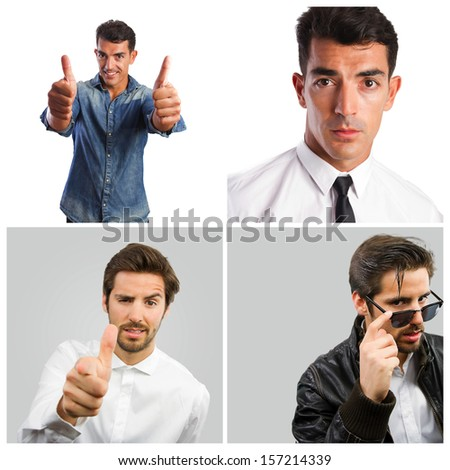 young handsome strong man gestures or poses