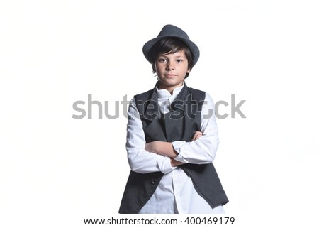 Young handsome teenage boy in formal wear , children fashion portrait isolated on white background  - stock photo