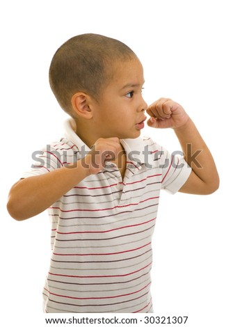 young handsome thai-english boy posing as a boxer, isolated on white - stock photo