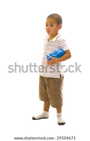 young handsome thai-english boy posing on white - stock photo