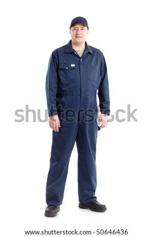 Young handsome worker. Isolated over white background - stock photo