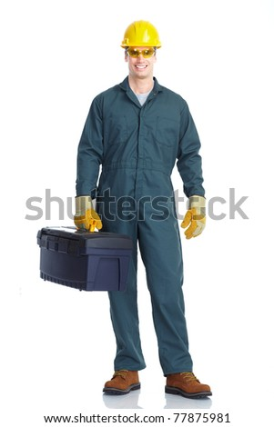 Young handsome worker. Isolated over white background. - stock photo