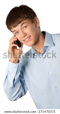 Young. Handsome Young Man Talking on a Cell Phone White Isolated - stock photo