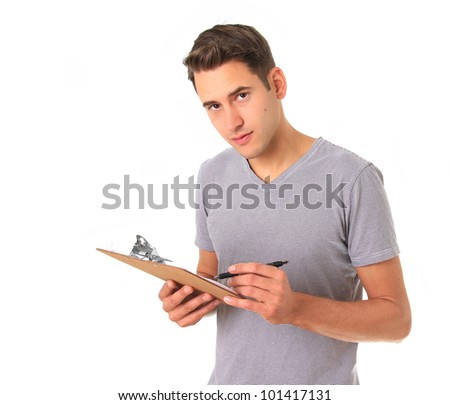 Young handy man with clipboard, studio isolated on white. - stock photo