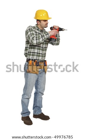 young handyman on duty isolated on white background