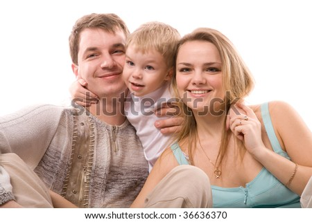 young happiness family isolated on a white background