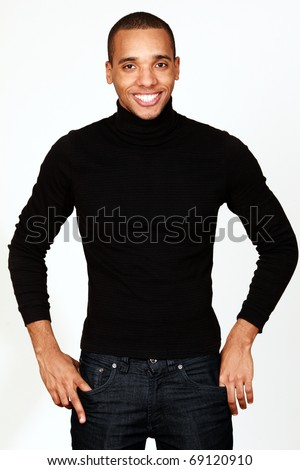 Young happy african-american casual man isolated on white background