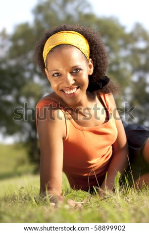 Young happy african woman - stock photo