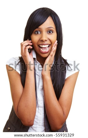Young happy african woman talking into her cell phone - stock photo