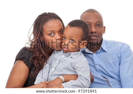 Young happy afro american family isolated over white background.