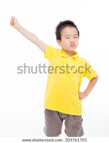 Young happy Asian boy isolated on white background.