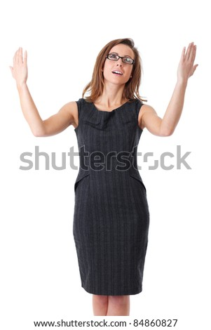 Young happy, attractive and confident business woman with her arms raised up, isolated on white - stock photo