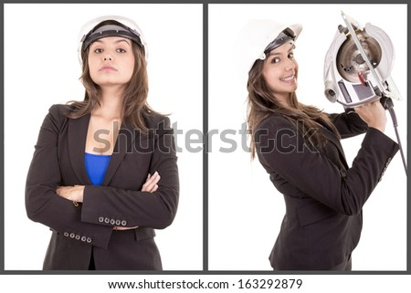 Young happy attractive woman in construction uniform - stock photo