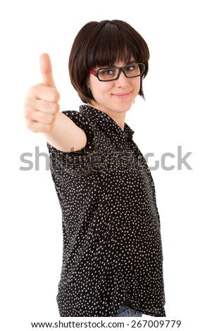 young happy beautiful woman going thumb up - stock photo