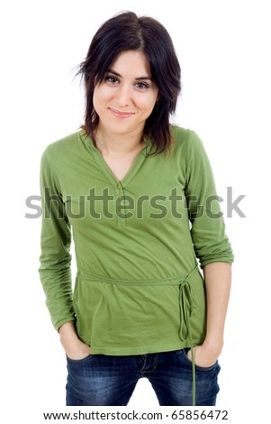 young happy beautiful woman, isolated in white - stock photo