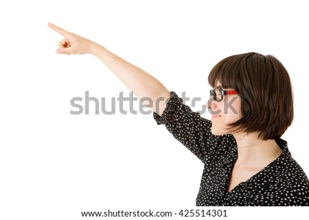 young happy beautiful woman pointing, isolated in white - stock photo