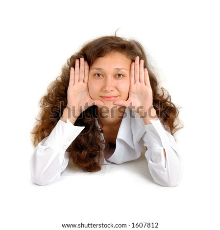 Young happy beautiful woman showing her palms isolated on white - hygiene concept