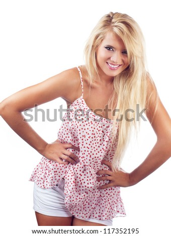 Young happy blond woman, isolated on white - stock photo
