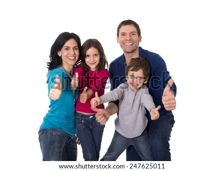 young happy Brazilian family mother and father playing with little son and daughter having fun all together isolated on white background - stock photo