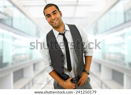 young happy business man portrait at the office - stock photo
