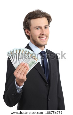 Young happy business man showing money isolated on a white background    - stock photo