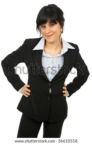 young happy business woman isolated on white