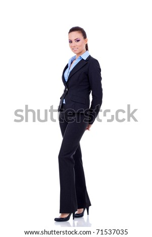 Young happy business woman isolated on white - full body
