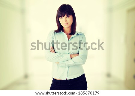Young happy business woman portrait - stock photo
