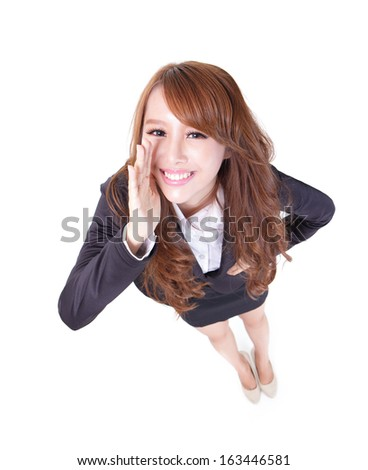 young happy business woman shout and scream using her hands isolated on white ,high angle view, asian beauty - stock photo