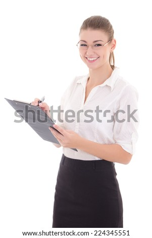 young happy business woman with clipboard isolated on white background