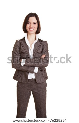 Young happy business woman with her arms crossed - stock photo